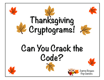 Thanksgiving Cryptograms! Can You Crack the Code?