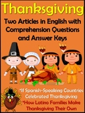 Thanksgiving Cultural Readings in English - El Dia de Acci