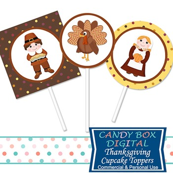 Thanksgiving Cupcake Toppers / Stickers