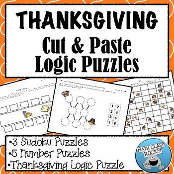 THANKSGIVING CUT & PASTE LOGIC PUZZLES