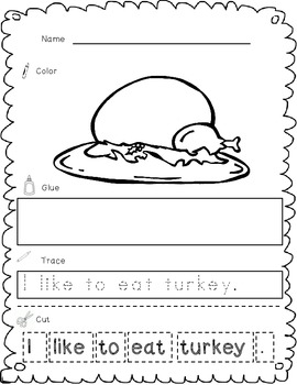 Thanksgiving Cut, Paste and Trace Complete Packet!
