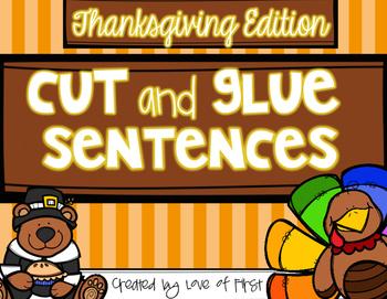 Thanksgiving Cut and Glue Sentences