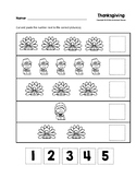 Thanksgiving Cut and Paste Numbers 1-5 B&W Worksheets