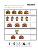 Thanksgiving Cut and Paste Numbers 1-5 Worksheets