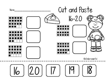 Thanksgiving Cut and Paste Worksheets (11-15 & 16-20)