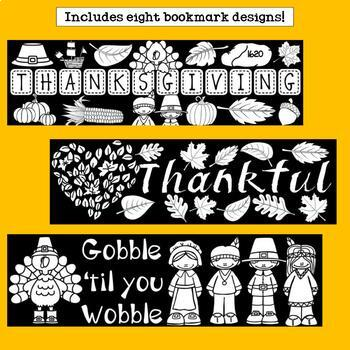 Thanksgiving Cut n' Color Bookmarks: Black and White AND Full Color