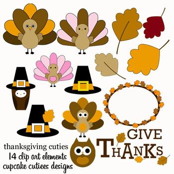 Thanksgiving Cuties Digital Clip Art Digital Graphics -Commercial Use