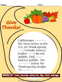 Thanksgiving DAZE & Cloze Activities