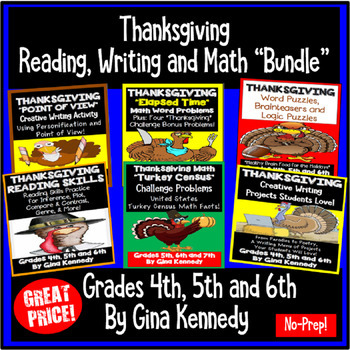 Thanksgiving Math, Reading Writing Bundle For Upper Elementary Students