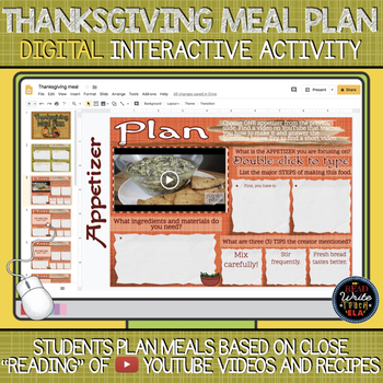 Thanksgiving DIGITAL Activity: Plan a Thanksgiving Meal with YouTube!
