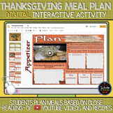Thanksgiving DIGITAL Activity: Plan a Thanksgiving Meal wi