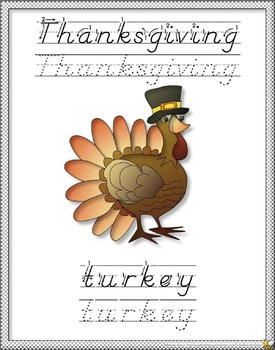 Thanksgiving D'Nealian Writing Worksheet