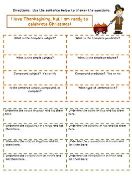 Thanksgiving Daily Sentence Practice