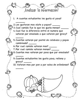 Thanksgiving Data and Graphing - Spanish