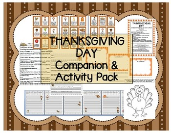 """Thanksgiving Day"" Activity / companion pack - writing, comprehension Speech"