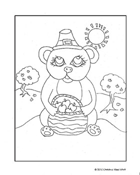 Thanksgiving Day Bear Coloring Sheet