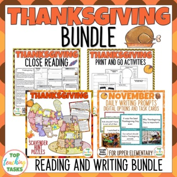 Thanksgiving Day Bundle Writing Reading and Creative Thinking ELA Resources
