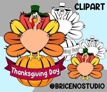 Thanksgiving Day CLIPART / Dia de accion de gracias / para colorear /  Coloring