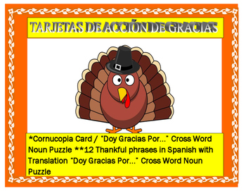 "Thanksgiving Day Cards in Spanish-  12 Thankful ""Tengo "" S"