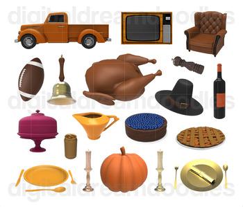 Thanksgiving Day Clip Art - Fall Turkey, Pilgrim Hat, Pie Digital PNG Graphics