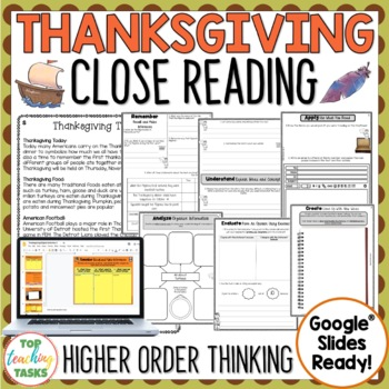 Thanksgiving Day Close Reading Comprehension Passages and Questions