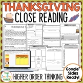 Thanksgiving Day Close Reading Comprehension Passages and