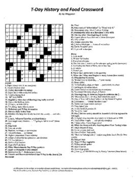 Thanksgiving Day Crossword, T-Day History and Food Crossword