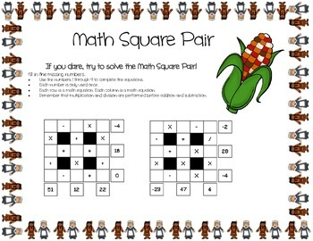 Thanksgiving Day Theme 3x3 Basic Math Square Pair