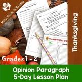 Thanksgiving Opinion Paragraph Writing Lesson Plan Grades 1-2