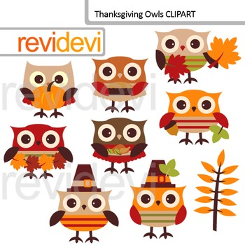 Thanksgiving Day Owls Clip Art / Autumn, fall season / cute owl clip art