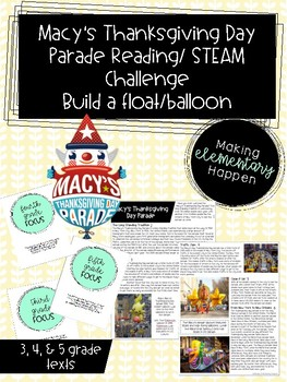 Thanksgiving Day Parade STEM Challenge and Reading Passage