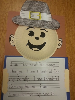 Thanksgiving Day Pilgrim boy/girl hat and Paper Plate Pattern w/writing activity