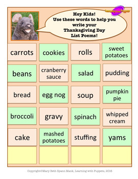 Thanksgiving Day Poetry Writing Activity