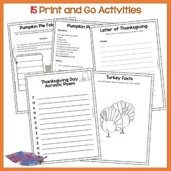 Thanksgiving Day Print and Go Activity Pack 15 Engaging ELA Resources