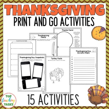 Thanksgiving Activities| Print and Go Activity Pack