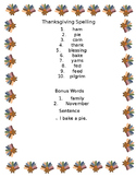 Thanksgiving Day Spelling Words