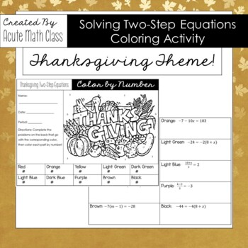 Thanksgiving Day Two Step Equations Coloring Activity