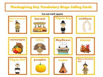 Thanksgiving Day Vocabulary Bingo