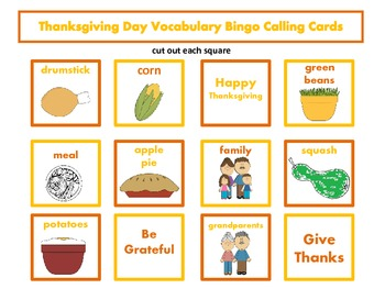 Thanksgiving Day Vocabulary Bingo