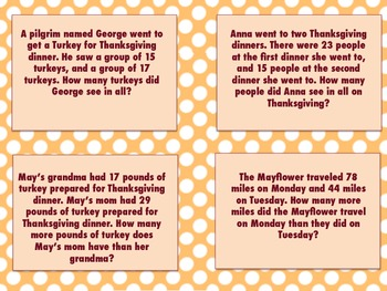 Thanksgiving Day Word Problem Task Cards Pack