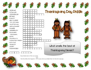 Thanksgiving Day Word Scramble and Hidden Riddle