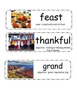 """""""Thanksgiving Day"""" by Gail Gibbons Vocabulary Cards"""