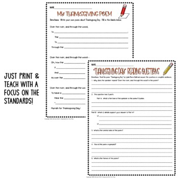 Thanksgiving Day by Lydia Child: Common Core Poetry Lesson Test Prep Pack