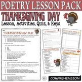 Thanksgiving Day by Child: Common Core Poetry Test Prep Lesson, Quiz, Activities