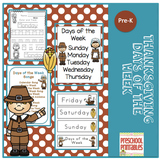Thanksgiving Days of the Week Printable plus 10 Songs