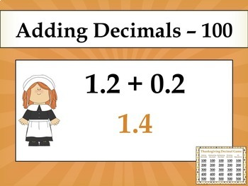 Thanksgiving Decimal Game - Similar to Jeopardy