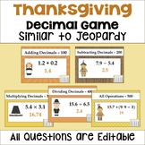 Thanksgiving Decimal Game Similar to Jeopardy