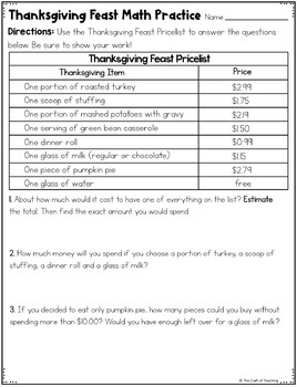 Thanksgiving Math Practice - Decimals