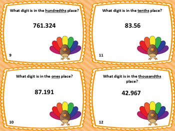 Thanksgiving Decimal Place Value Task Cards: Set of 28 (Gr. 4-5)