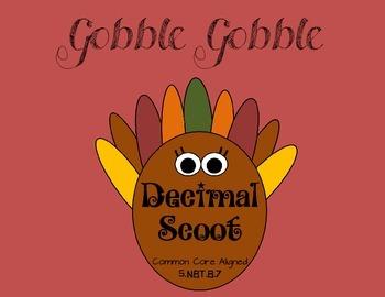 Thanksgiving Decimal Scoot - Add, Subtract, Multiply, Divi